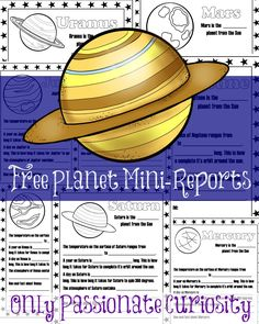Only Passionate Curiosity has a FREE Set of Planet Mini-Reports. For each planet, your child will label which planet number they are from the sun, the temp Third Grade Science, Middle School Science, Elementary Science, Science Classroom, Teaching Science, Science Fun, Science Facts, Life Science, Teaching Tools