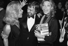 Lee Remick, Stephen Sondheim and Lauren Bacall at the opening night of Side By Side By You-Know-Who