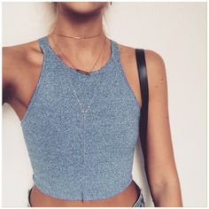 Tight grey crop top // Love it with jeans for a casual look. Also nice with barely there chains.