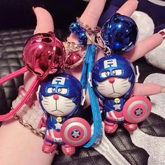 Cat doreamon captain americ key chain by Theonevarietyshop on Etsy