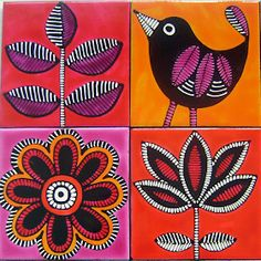 Madhubani Art, Madhubani Painting, Painting Ceramic Tiles, Tile Art, Ceramic Art, Pattern Art, Print Patterns, Kalamkari Painting, Indian Folk Art