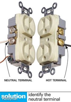 hot vs neutral terminals Play it smart and stay safe when wiring outlets and switches Home Electrical Wiring, Electrical Code, Electrical Projects, Electrical Outlets, Electrical Inspection, Electrical Installation, Electrical Switches, Electrical Engineering, Wire Switch