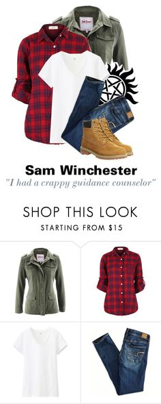 """""""Tagged: Sam Winchester"""" by parisinblackandwhite ❤ liked on Polyvore featuring Uniqlo, American Eagle Outfitters and Timberland"""