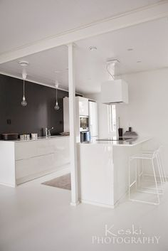 k / kitchen Kitchen Dining, Kitchen Decor, Upper Cabinets, Cozy Place, Cuisines Design, Scandinavian Interior, My Dream Home, Home Kitchens, Small Spaces