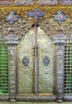 Door in the shrine of the Mausoleum Sayyida Ruqayya in Damascus, Syria