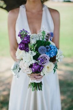 bouquet with blues, purples, and whites // photo by Blog.LevKuperman.com