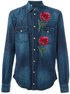 Dolce & Gabbana Camisa jeans com bordado