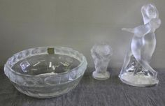 Lalique Lot - Includes a Lalique nudes vase, a Lalique bowl with chicks, and a Lalique figurine of 2 dancing nude females