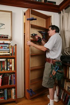 Gary Katz Online article shows how to make a hidden door/bookcase. Lots of pictures in this how-to article.