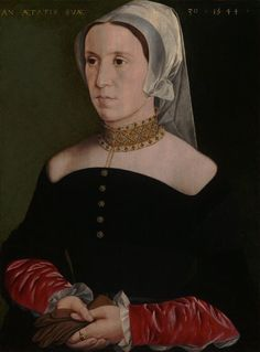 Portrait of a Woman, 1544, Flemish (Antwerp?)  Needs attribution.   A transparent partlet with highly embroidered collar, or bare shoulders and a collar-style necklace?