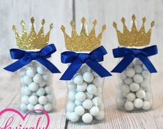 Like this but we could make the balls like baseballs and maybe put a glove on top Little Prince Baby Bottle Favors in Royal Blue & Glitter Gold - Set of 12 - Baby Shower by LovinglyMine on Etsy Baby Shower Azul, Fiesta Baby Shower, Baby Shower Favors, Shower Party, Baby Shower Parties, Baby Shower Themes, Baby Boy Shower, Prince Themed Baby Shower, Royal Baby Shower Theme