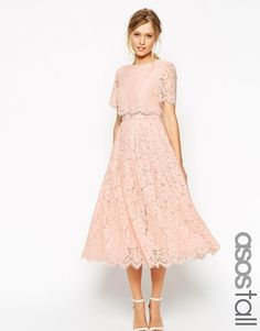 Bit long and long sleeved ASOS TALL SALON Lace Crop Top Midi Prom Dress