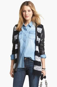 Love this cardigan's stripe & faux leather mix!