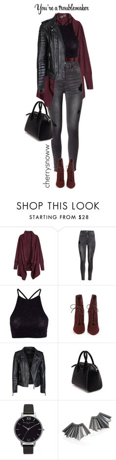 """""""Grunge chic outfit"""" by cherrysnoww ❤ liked on Polyvore featuring H&M, Y.A.S, Gianvito Rossi, Givenchy, Olivia Burton, Giles & Brother, women's clothing, women's fashion, women and female"""