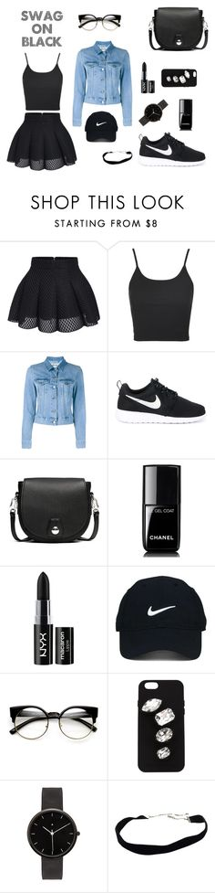 """""""Swag on black"""" by dheaandp ❤ liked on Polyvore featuring Topshop, Acne Studios, NIKE, rag & bone, Chanel, NYX, Nike Golf, STELLA McCARTNEY and I Love Ugly"""