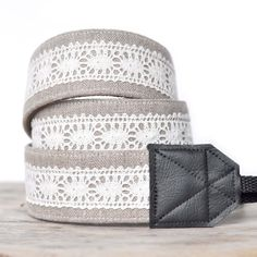 I want this     Unique DSLR Camera Strap - Linen and Lace - Natural. $42.00, via Etsy.