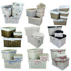 Deep Wicker Storage Basket Hamper with Cotton Liner in 3 Sizes Choice of Designs in Home, Furniture & DIY, Storage Solutions, Storage Baskets | eBay