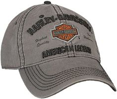 Men's Embroidered Bar & Shield Baseball Cap, Charcoal at Cheapcapssmall Men's Hats & Caps store: Mom Hats, Hats For Men, Hat Men, Harley Davidson Dealership, Cap Store, Harley Gear, Popular Hats, American Legend, American Flag