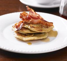 Banana pancakes with crispy bacon & syrup recipe. Treat yourself to a lazy brunch with these American-style fluffy pancakes with pancetta and maple drizzle. Vegan Banana Pancakes, Chocolate Chip Pancakes, Fluffy Pancakes, Chocolate Chips, Bacon Syrup Recipe, Sweet Pancake Recipe, Pancake Recipes, Bread Recipes, Bbc Good Food Recipes