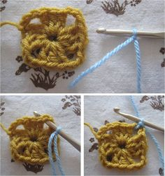 By MiekK: Haakles voor Beginners Granny Squares Haken Crochet Instructions, Granny Squares, Crochet Necklace, Knitting, Sewing, Natural, Blog, Art, Tejidos