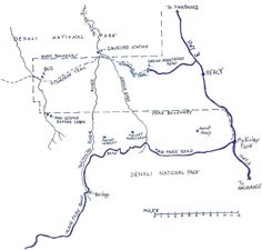 A map of the area where Chris McCandless was in Alaska. This also shows where the abandoned bus, Stampede Trail, and Teklanika River are located.