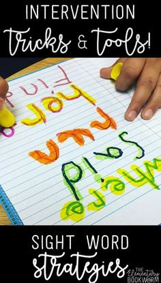 If you have a student who is struggling to learn sight words (or even letters), you need to read this post! Teachers, you'll find new ideas for practicing sight words and spelling that are also perfect for students to do during intervention time! Teaching Sight Words, Sight Word Practice, Sight Word Games, Sight Word Activities, Spelling Word Games, Grade Spelling, Kindergarten Literacy, Reading Intervention Kindergarten, Kindergarten Sight Words