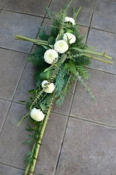 Your place to buy and sell all things handmade Funeral Floral Arrangements, Church Flower Arrangements, Deco Floral, Arte Floral, Grave Decorations, Cross Wreath, Funeral Tributes, Cemetery Flowers, Funeral Flowers