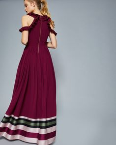 Imperial Stripe ruffle trim maxi dress - Deep Purple | Dresses | Ted Baker UK