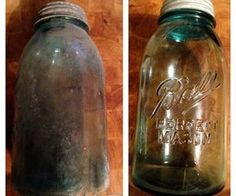Cleaning Antique Glass Jars (Mason Jars) Cleaning Antique Glass Jars (Mason Jars),Clothing washing tips Picture of Cleaning Antique Glass Jars (Mason Jars) Related posts:Art Nouveau Pendant - antiqueYou May Never Want To Leave Little. Mason Jar Projects, Mason Jar Crafts, Mason Jar Diy, Diy Projects, Blue Mason Jars, Colored Mason Jars, Chalk Paint Mason Jars, Painted Mason Jars, Diy Hanging Shelves