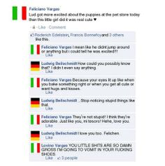 In their shoes face book hetalia Hetalia Funny, Hetalia Anime, Spamano, Germany And Italy, Manga, Facebook, Have Fun, Fandoms, Feelings