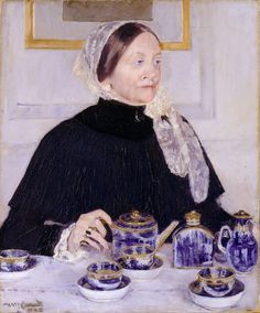 Lady at the Tea Table by Mary Cassatt, 1883–85- this lady is using flow blue dishes