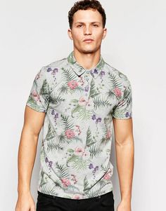 Only+&+Sons+Polo+Shirt+with+All+Over+Floral+Print