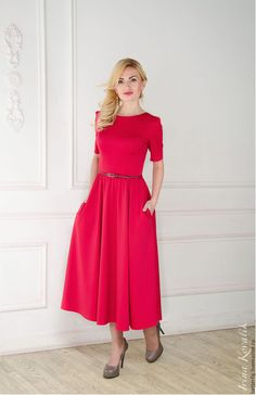 Купить Платье на выход - ярко-красный, платье миди, вечернее платье, платье на выход
