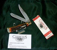 """Camillus 717 Knife USA Stag Delrin Trapper"""" 4-1/4"""" Closed W/Packaging,Paperwork @ ditwtexas.webstoreplace.com"""