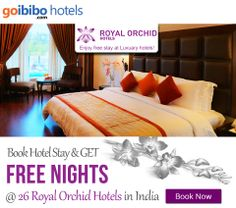 Book 1 Night and Get 1 Free Night on all 26 Royal Orchid hotels across India. Book Here: http://www.goibibo.com/royal_orchid/ Mussoorie, Mysore, Shimoga, Bangalore, Chandigarh, Goa, Gurgaon, Hyderabad, Jaipur, Mahabaleshwar, Navi Mumbai, Pune, Vadodara, Ahmedabad, Bharuch, Bhuj, Hospet.