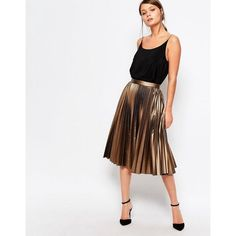 Closet Pleated Coated Midi Skirt (1.804.840 VND) ❤ liked on Polyvore featuring skirts, brown, white skirt, calf length skirts, brown midi skirt, brown skirt and metallic skirt