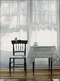 Karen Hollingsworth Art. I love what makes me feel:.bird, one chair and one teacup, clean light..just for me! silence!
