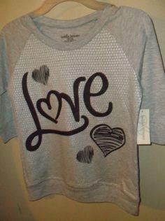 $1.99 Bobbie-Brooks-NWT-Medium-7-8-Girls-Shirt-Top-Gray-Love-Glitter-Black-Hearts-3-4S