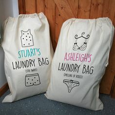 A unique, personalised set of two cotton drawstring laundry bags.The sacks have a handy drawstring at the top, making it easy to close and hang.These quircky yet versatile drawstring bags are perfect for all your laundry, either at home or while travelling. Add your names to the top of the drawstring bag for that extra special personal touch. There are 2 colour versions, pink & black text or duck egg blue & black text. We also have a single version of these sacks available, please ...