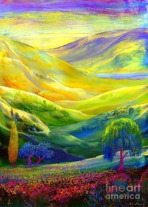 Surrealism Painting -  Wildflower Meadows, Amber Skies by Jane Small