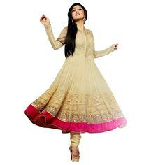 Drashti Dhami Georgette Machine Work Cream Semi Stitched Long Anarkali Suit - 502 In Stock: Rs 1,499