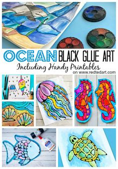 A great Summer Black Glue Art project for kids. Combine Black Glue and Watercolors to make this fabulous Shark Stained Glass project.