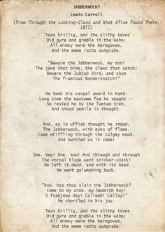 an analysis of the poem jabberwocky by lewis caroll Jabberwocky, the classic poem by lewis carroll, is full of nonsensical words but are they really nonsense after all read on to discover the meaning of the words.