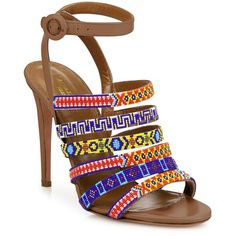 Aquazzura Masai Beaded Strappy Leather Ankle-Strap Sandals ($398) ❤ liked on Polyvore featuring shoes, sandals, ankle tie sandals, ankle wrap sandals, strappy shoes, monk-strap shoes and beaded sandals