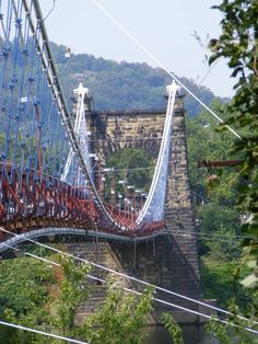 A wire suspension bridge over the Ohio River in Wheeling, West Virginia. What a beauty!