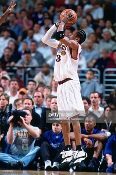 Allen Iverson #3 of the Philadelphia 76ers shoots against the Toronto Raptors in Game two of the Eastern Conference Semifinals on May 9, 2001 at the Wachovia Center in Philadelphia, Pennsylvania.