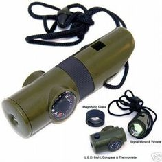 because I am a nutjob...SE CCH7-1 7 in 1 Survival Whistle with  White Led Flashlite Car