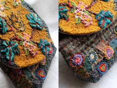 hand embroidery on homemade bag by Facile Cecile