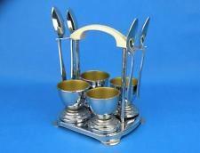 Vintage 1940s Art Deco Chrome & Bakelite Egg Cup / Cruet Set – Kitchenalia
