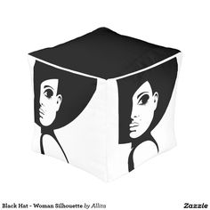 Black Hat - Woman Silhouette Cube Pouf